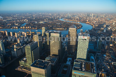 Aerial view of Canary Wharf looking towards the City, London