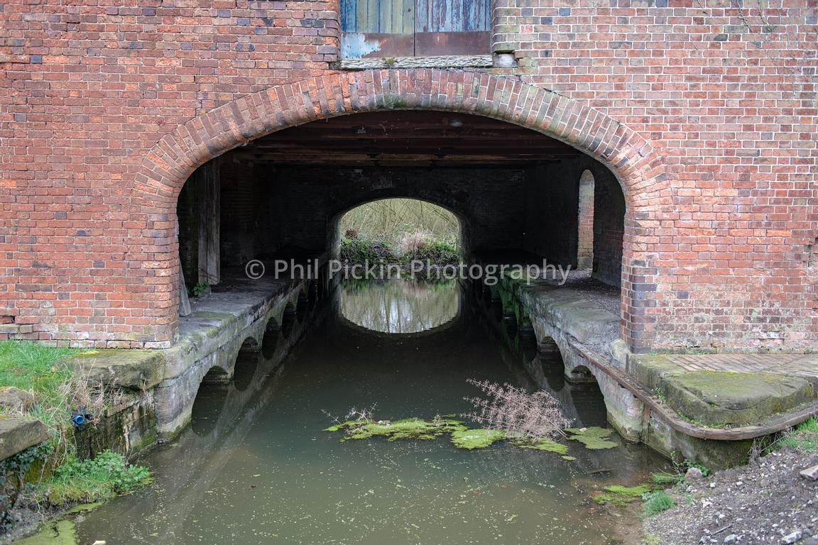 Section of canal below the warehouse at Wappenshall Wharf in Telford, Shropshire