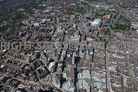 Leeds wide angle high level aerial view of central Leeds office and retail centre