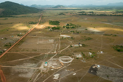 Aerial view of Bina Hill village, Rupununi savanna, Guyana South America