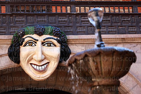 Bacchus face in main courtyard of Casa de la Moneda / Royal Mint, Potosí, Bolivia