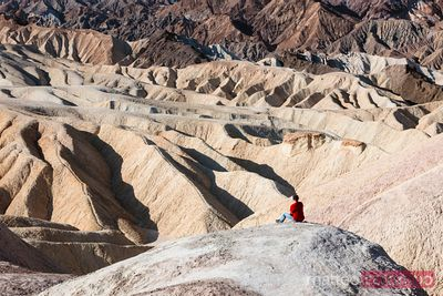 Solitary man at Zabriskie point, Death valley, USA