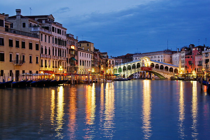 Rialto Bridge and Grand Canal at Dusk, Venice, Italy