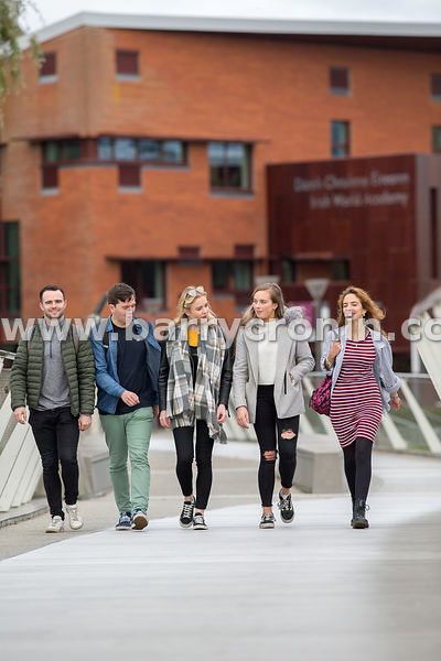 22nd October, 2018.University of Limerick. Pictured are students on the so called 'Living Bridge' as it constantly moves.Phot...