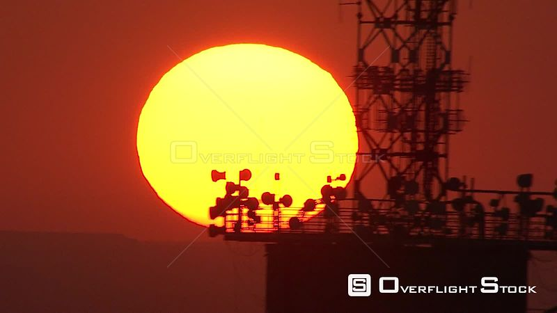 Aerial shot of the sun setting behind Hillbrow Tower Johannesburg Gauteng South Africa