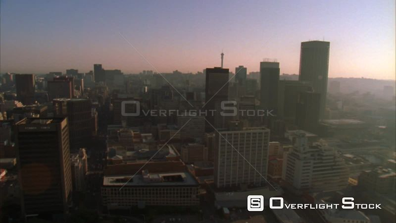 Aerial shot of the Central Business District of Johannesburg. Johannesburg Gauteng South Africa