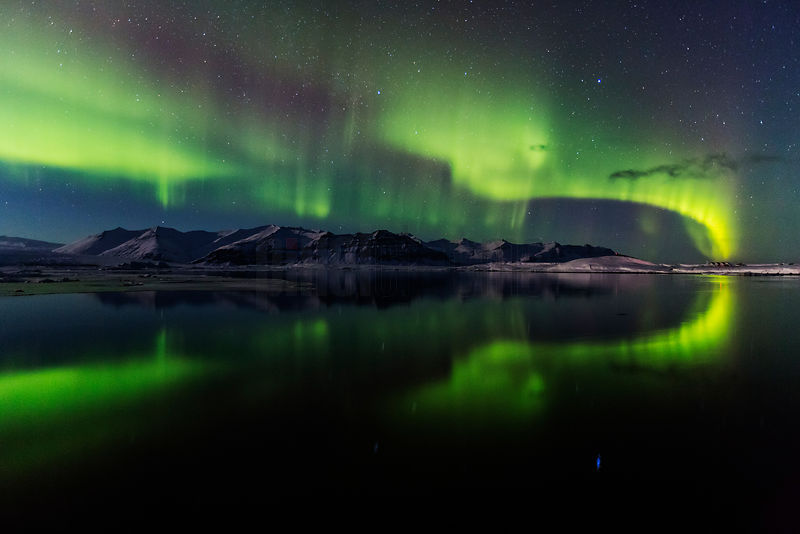 Northern Lights (Aurora Borealis) over Lake Jökulsárlón