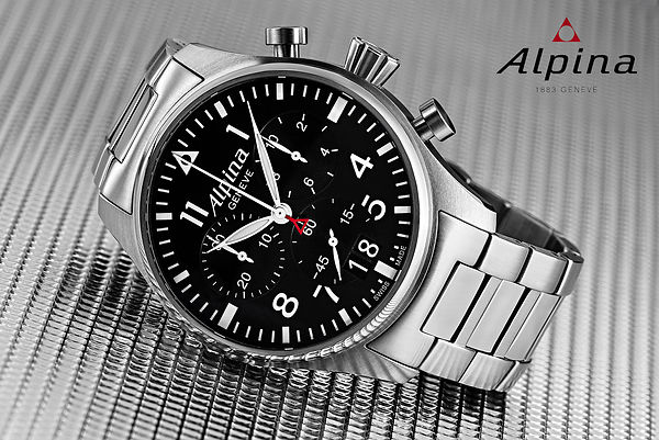 Watches timepieces , still photographer in Switzerland Alpina Watch Startimer Pilot Big Date Chronograph