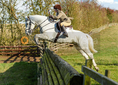 Eliza Culloty jumping a fence. Quorn Hunt Opening Meet 2018
