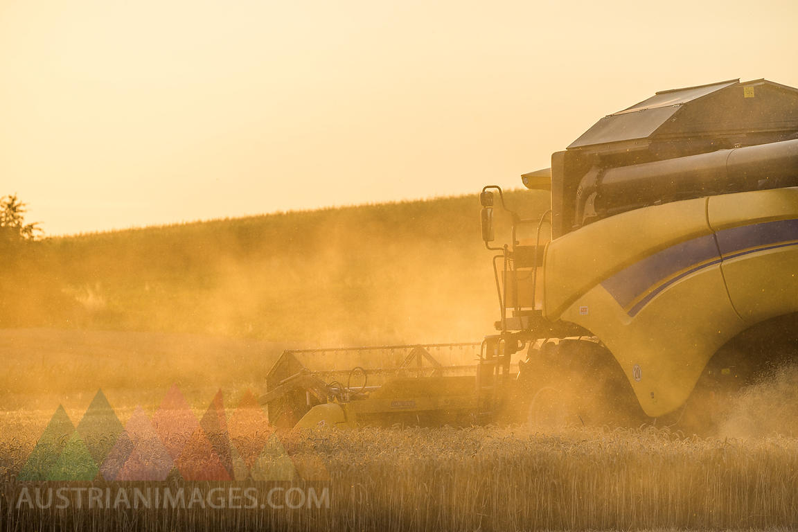 Germany, Lower saxony, combine harvester on field in the evening