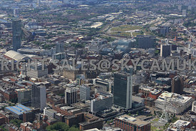 Manchester looking from City Tower and Piccadilly Gardens across central Manchester towards Castlefield and Salford