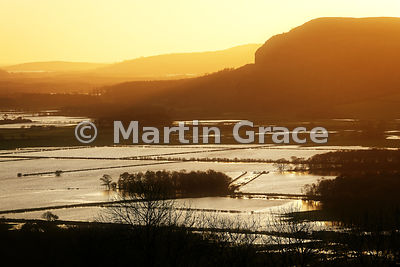 The Lyth Valley flooded after prolonged, torrential rain, Cumbria, England