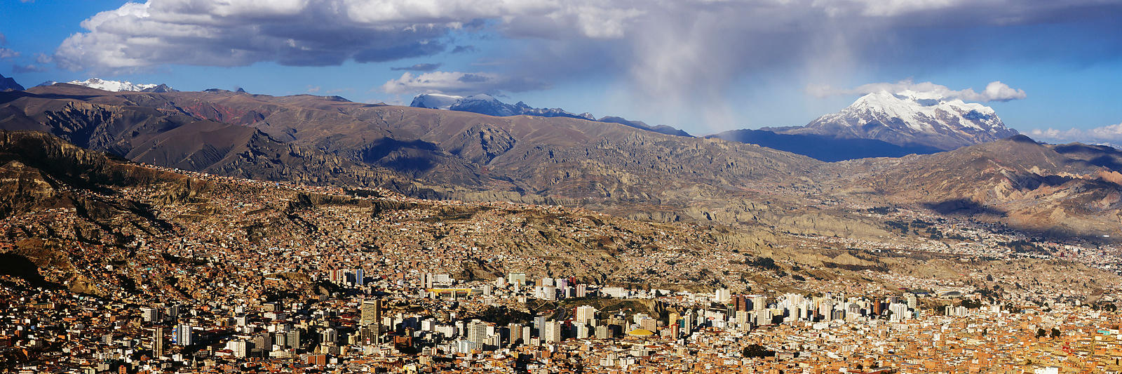 La Paz and Illimani Volcano, Bolivia