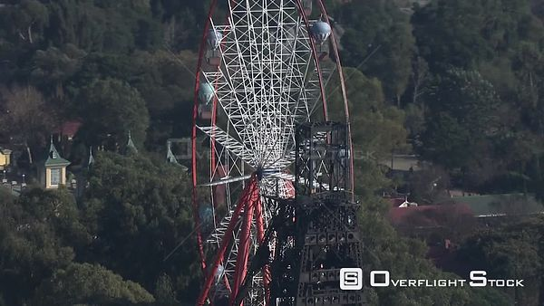 Aerial shot of the ferris wheel at Gold Reef City in Johannesburg Johannesburg Gauteng South Africa