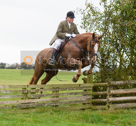Johnnie Arkwright jumping a hunt jump at Thorpe Satchville - Quorn Hunt Opening Meet 2016