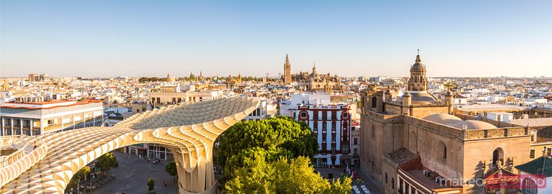 Panoramic of Seville with Metropol Parasol from high point, Spain