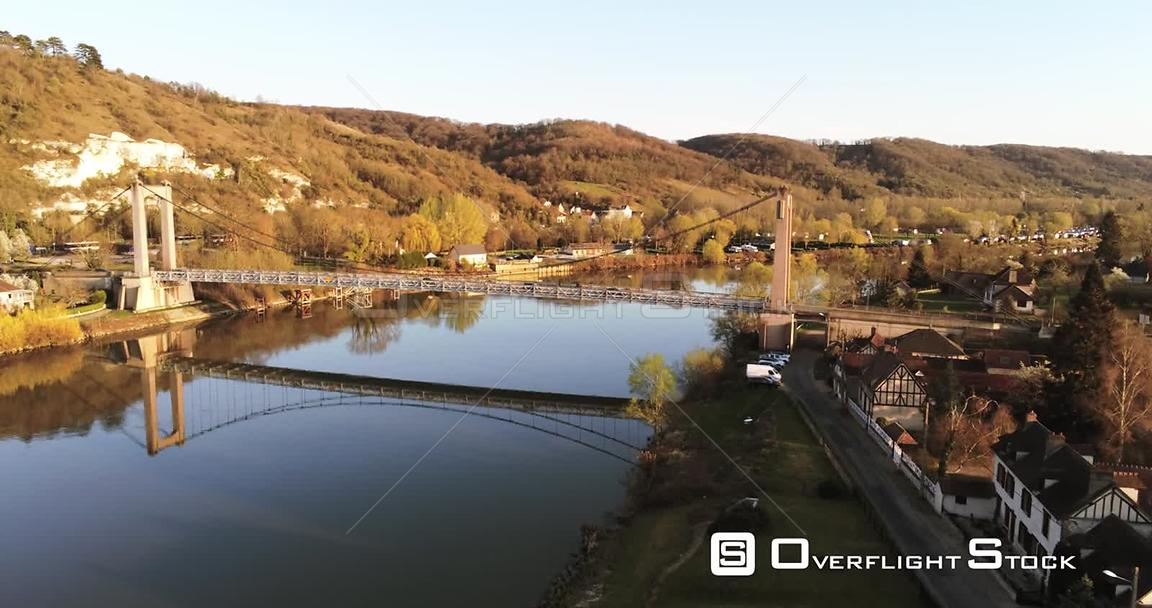Drone Video Bridge over Seine River Les Andelys France