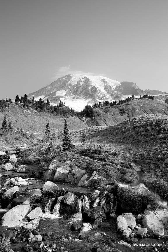 ALPINE STREAM MOUNT RAINIER NATIONAL PARK WASHINGTON STATE BLACK AND WHITE VERTICAL