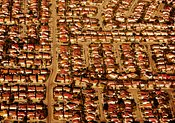Aerial photograph of suburbs in Southern California.