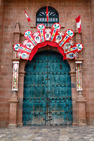 Main entrance of San Cristobal church, Cusco, Peru