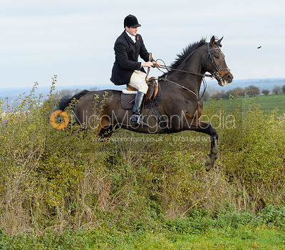 Tom Abel Smith jumping a hedge near Clawson Thorns