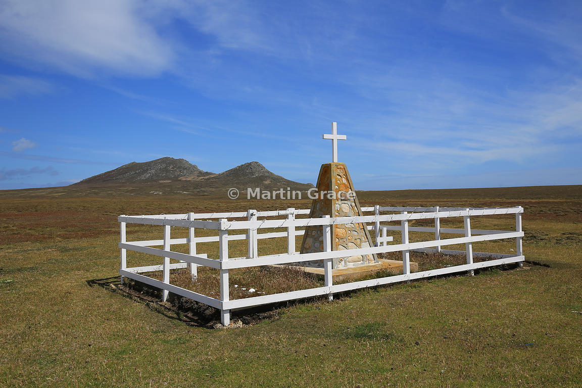 Argentine Learjet memorial with Marble Mountain behind, Pebble Island