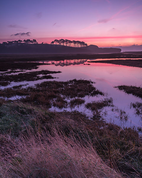 Vivid dawn twilight colour with perfect reflections on the River Otter at Budliegh Salterton, Devon, UK