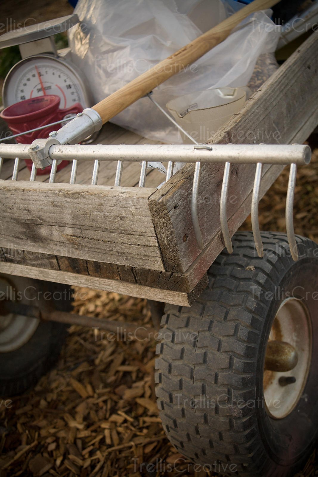Wooden wagon with large metal rake, scale and plastic wrap inside.