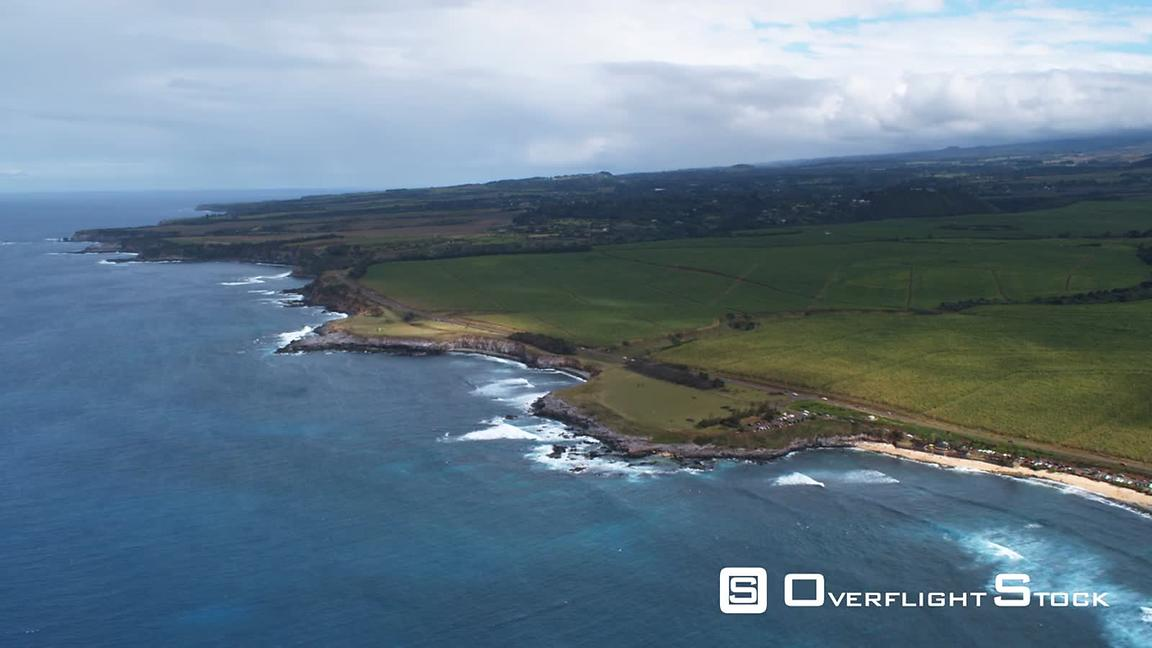 Orbiting green fields on the north shore of Maui.