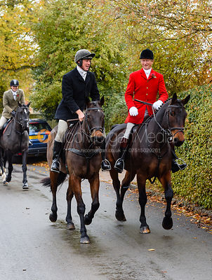 Rory Bevin, Nicholas Leeming leaving the meet. The Cottesmore Hunt at Braunston