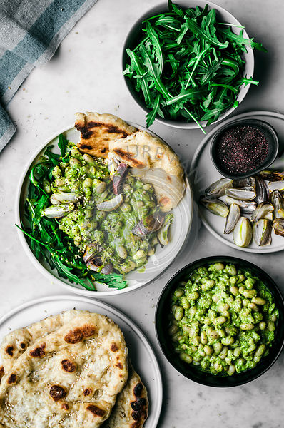 Persian Herb and White Bean Salad with Naan