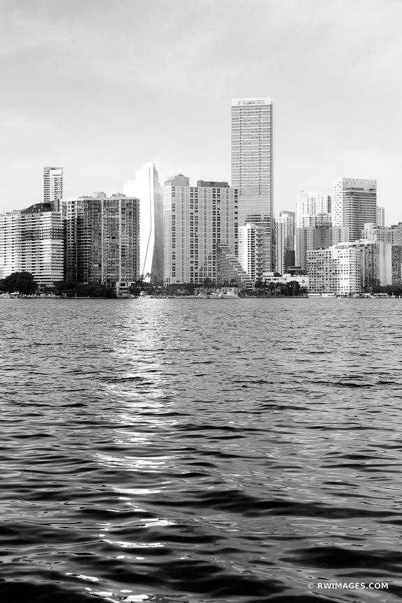 MIAMI SKYLINE AT SUNSET CITY OF MIAMI FLORIDA BLACK AND WHITE