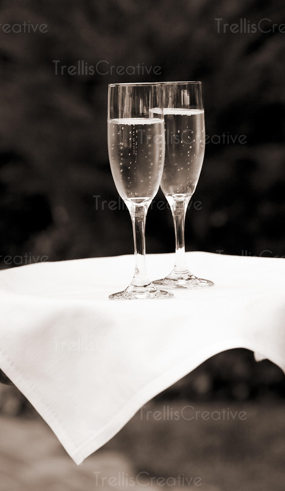 Two glasses of champagne on a server's platter