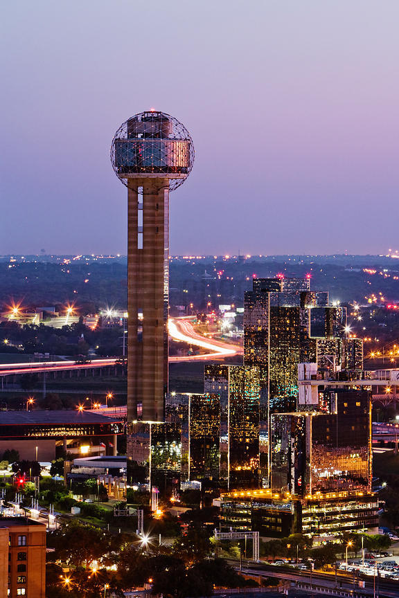 Reunion Tower and Hyatt Hotel from Uptown Dallas Texas