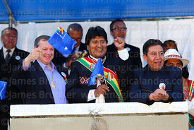 Bolivian president Evo Morales Ayma watches military parades during Dia del Mar / Day of the Sea, La Paz, Bolivia