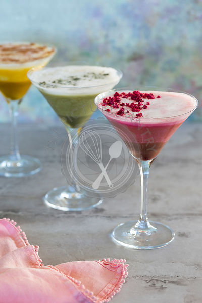 Chilled Tumeric Latte, Matcha Latte and Beetroot Latte