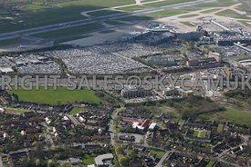 Manchester high level view of the Business Park developments and car parking Manchester Airport Wythenshaw
