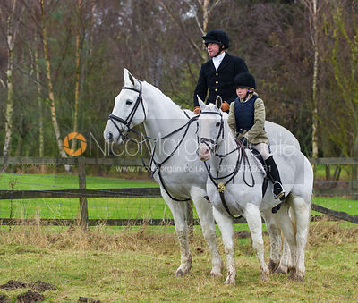 Johnny and Lara Weatherby at the meet - The Cottesmore Hunt at Belton-in-Rutland 21/12