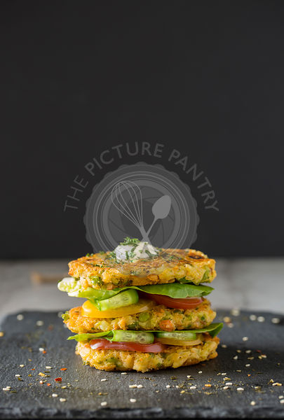 Salmon Potato Cake Stack.