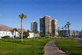 High rise apartment blocks and footpath on Playa Cavancha promenade, Iquique, Chile