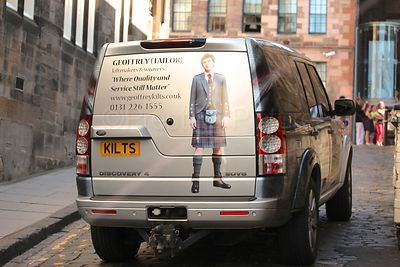 Car Advertising Kiltmakers with Registration Plate KILTS