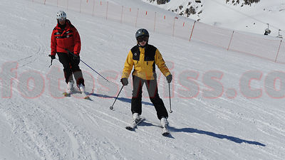 Ski School for the Blind in Saint Moritz on Corviglia and Marguns of Engadine Mountains