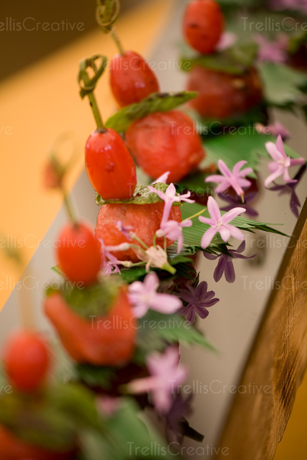 Watermelon and cherry tomato skewers