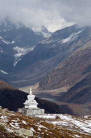 Stupa at the summit of Rohtang Pass, Manali, India