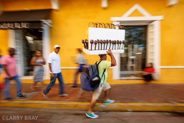 Street trader in Cartagena, Colombia, South America
