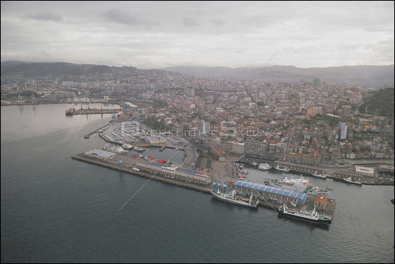 SPAIN -- 15/12/2002 -- Aerial picture of the city and port of Vigo, the capital of the province of Galicia