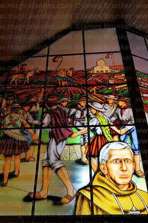 Stained glass window with scenes of festival for Virgen de Chaguaya, San Bernardo de Tarija cathedral, Tarija, Bolivia
