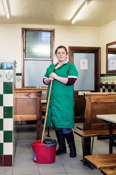 Bethany at Manze's Pie and Mash shop, Peckham