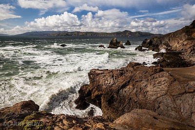 Ocean view over rocks at Point Lobos in San Francisco, USA