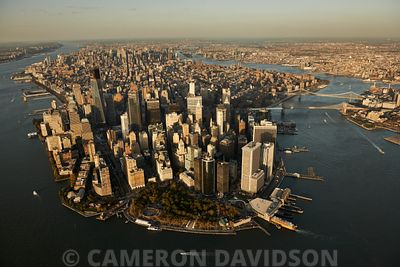 Aerial photogrpah of Lower Manhattan from above Governors Island